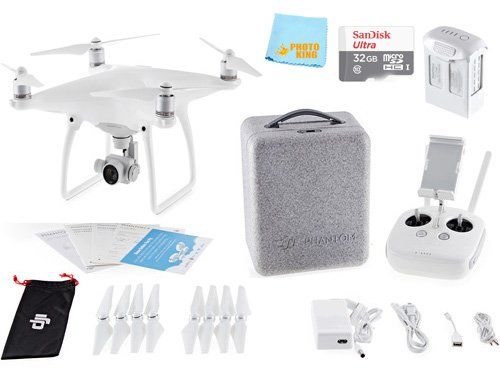 DJI Phantom 4 Quadcopter Drone Aircraft + SANDISK 32GB Micro...