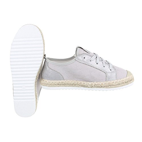 Low-Top Sneaker Damen-Schuhe Low-Top Sneakers Schnürsenkel Ital-Design Freizeitschuhe Hellgrau, Gr 39, B754S-Bl-