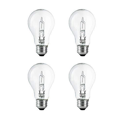 - A19 Clear Halogen Light Bulb, 43 Watt, (60W Equivalent), 2700K Soft White, E26 Medium Base, 750 Lumens, 120V (4 Pack)