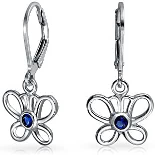 Bling Jewelry Simulated Sapphire CZ Silver Butterfly Leverback Earrings