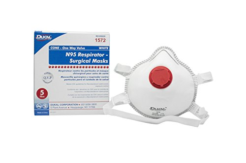 Dukal 1572 N95 Mask, Non-Sterile, Cone, One-Way Valve, Wh...