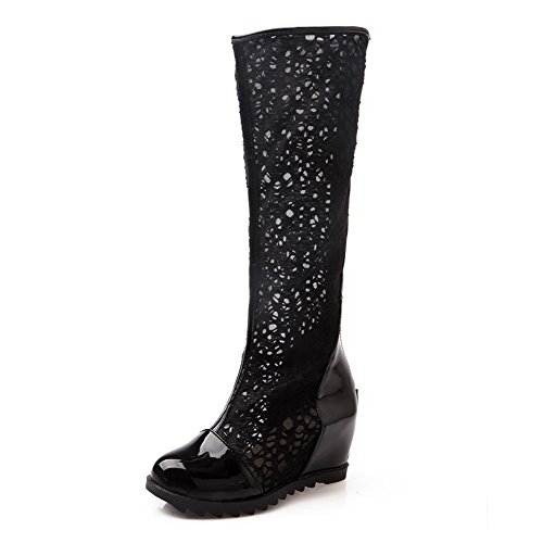 Black PU Womens Kitten B Heels PU Patent Boots Leather 5 Solid Heighten US M with AmoonyFashion Zipper Inside and 56Yq4wd4