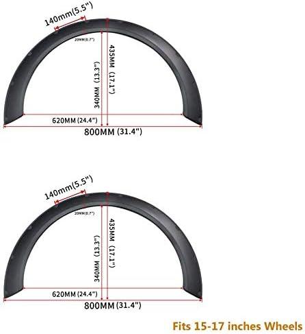 4Pcs 3.1//80CM Universal Flexible Car Fender Flares Extra Wide Body Wheel Arches Wheel hub R15-R17 Model