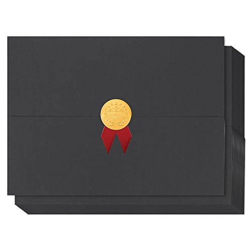 12-Pack Certificate Cover - Diploma Cover, Document Cover for Letter-Sized Award Certificates, Black, Gold Foil, Red Bow, 12.5 x 9.2 inches