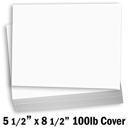 (Hamilco White Cardstock Thick Paper - Blank Index Flash Note & Post Cards - Greeting Invitations Stationary 5 1/2 X 8 1/2