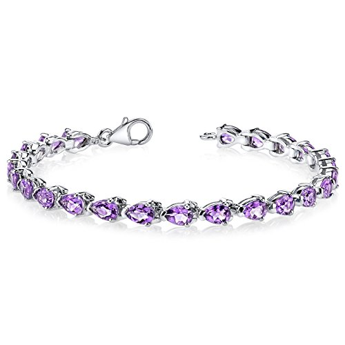 Amethyst Tennis Bracelet Sterling Silver Rhodium Nickel Finish 7.75 Carats Pear Shape by Peora