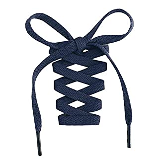 """Handshop Flat Shoelaces 5/16"""" - Shoe Laces Replacements For Sneakers and Athletic Shoes Boots Navy Blue 114cm"""