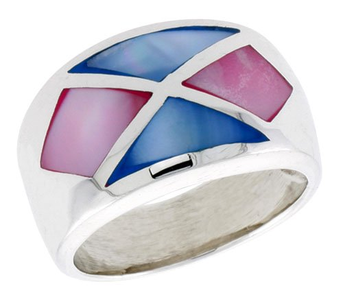 Sterling Silver Crisscross Design Dome Shell Ring, w/Pink & Blue Mother of Pearl Inlay, 9/16