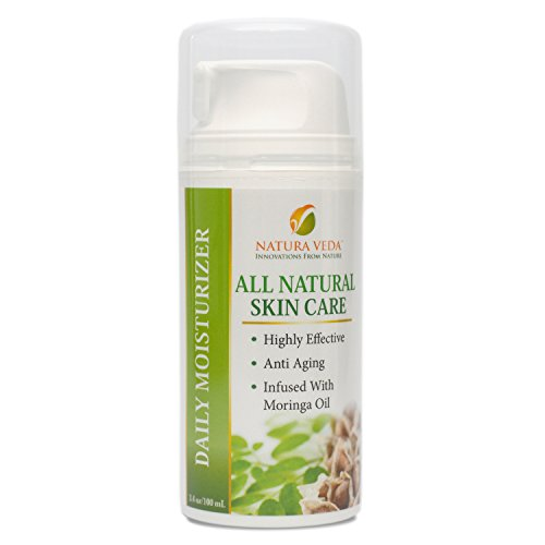 Natura Veda - All Natural Daily Moisturizer - Anti Aging - Moringa Oil Infused - 3.4 oz/100 ml