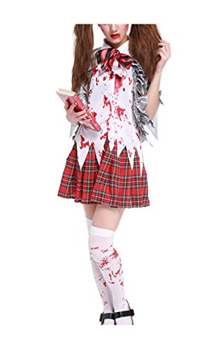 [Women's Horror Zombie Schoolgirl Costume Blooded High School Student Uniform Halloween Outfit,Style A X-Large] (Zombie School Girl Costumes)