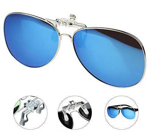 af7a989850f Jaky Retro Polarized Glasses Clip on Flip up Classic AVIATOR Mens Womens  Sunglasses (Ice Blue