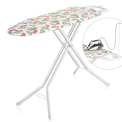 Bartnelli Ironing Board with Cover Pad, Height Adjustable, Safety Iron Rest, Safety Storage Lock, 4 Leg, 3 Layer Pad, Home Laundry Room or Dorm Use