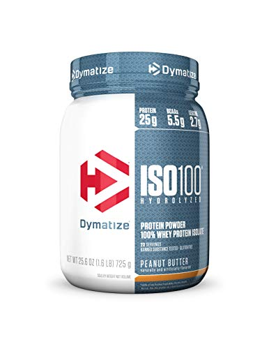 Dymatize ISO100 Hydrolyzed Protein Powder, 100% Whey Isolate Protein, 25g of Protein, 5.5g BCAAs, Gluten Free, Fast Absorbing, Easy Digesting, Peanut Butter, 1.6 Pound