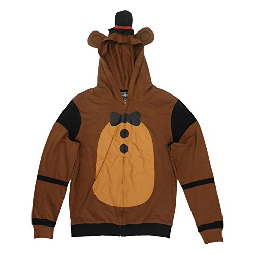 Men's Lightweight Five Nights at Freddy's Cosplay Zipper Hoodie with Top Hat Embellishment (X-Large) -