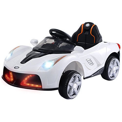 Remote Powered Rc - Costzon Kids Ride On Car, 12V Battery Powered Vehicle, Parental RC Remote Control & Manual Modes w/ LED Lights, Horn, Music, MP3, Open Doors, High/ Low Speed, White