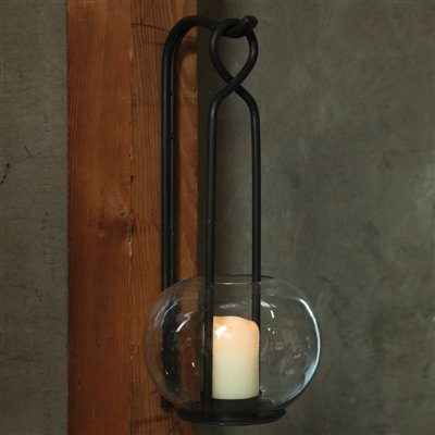 (Villa Cast Iron Wall Sconce & Hook Set - Hurricane - Black)