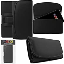IWIO Samsung Galaxy S5 SV SM-G900F I9600 / Galaxy S5 Neo Black Horizontal PU Leather Side Pouch Case Cover Holster with Belt Loop Clip and Magnetic Closure