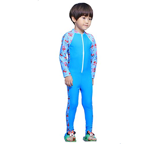 [MAIBU Kids UPF 50+ Sunsuit Long Sleeve Swimwear One-piece Bodysuit Swimsuit Age 3-9years Lake Blue] (Girls Swimming Costumes Age 13)