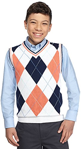 Izod Argyle Sweater - Izod© Big Boys Argyle Sweater Vest, Burnt Orange (Small (8))