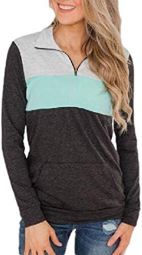 Women Casual Half Zipper Long Sleeve Color Block Sweatshirt with Pocket