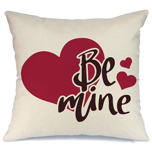 AENEY Valentines Pillow Cover 18x18 for Couch Hot Love Rose Red Sweet Heart Be Mine Happy Valentines Day Decorations Throw Pillow Home Decor Pillowcase Faux Linen Cushion Case Sofa A183
