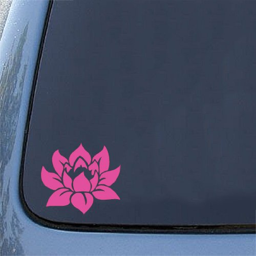 "Lotus Flower - Design 1 - (HOT PINK) - Car Vinyl Decal Sticker (6""h x 5.5""w)"