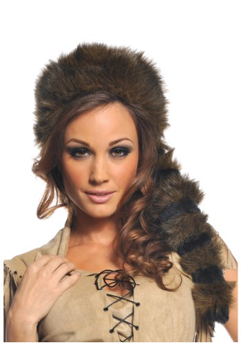 Underwraps Women's Frontier Hat, Brown/Black, One Size (Racoon Tail)