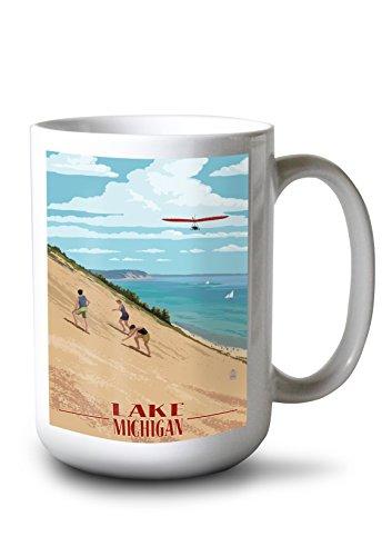 Lantern Press Michigan - Dunes (15oz White Ceramic Mug)