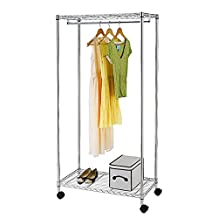 SortWise ® 2-Tier Utility Closet Organizer Free Standing Hanging Rod with Wheels, Portable Clothes Hanger Wardrobe Garment Rack Home Storage