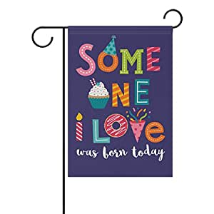U LIFE Decorative Colorful Happy Birthday Love Garden Yard Flag Banner for Party Outside House Flower Pot Double Side Print Polyester 12 x 18 Inch