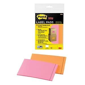 Post-It 70005084382 - Pack de 2 bloques de etiquetas adherentes, 73 x 117 mm, naranja y rosa