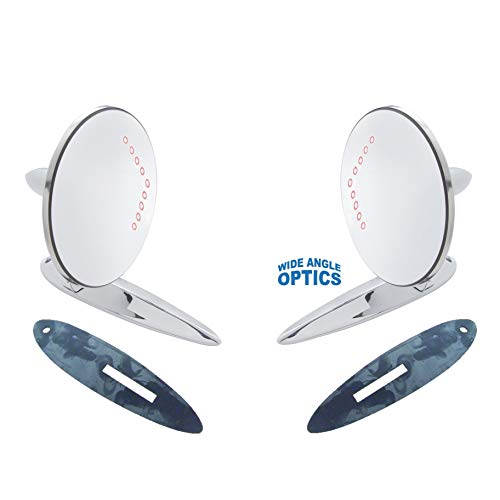 2 Door Chevy 55 - Octane Lighting Fits:1955-1956-1957 Chevrolet Bel Air, 210, 150, Sedan Delivery & Nomad Car Exterior Outside Side Rear View Door Convex Lens Mirror & LED Turn Signal Pair - 1 Standard and 1 Convex (2)