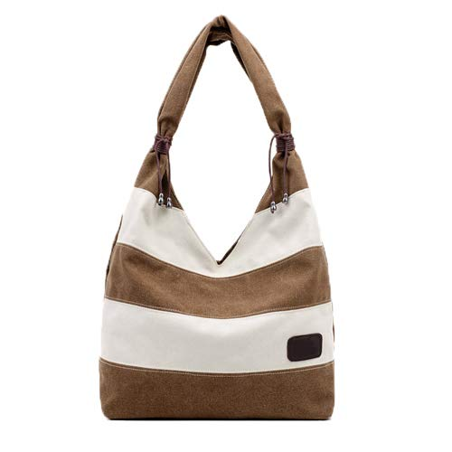 Female Striped Brown Messenger Simple Wild Casual Shoulder Bags Dwhui And Ms Handbag Bag Canvas Zipper xgSO1O