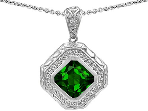 ut Simulated Emerald Bali Style Pendant Necklace Sterling Silver (Bali Style Star)