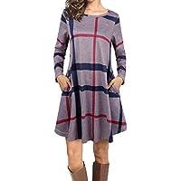 emvanv Mujer Casual suelta de manga larga Plaid camisa de T vestido con bolsillos