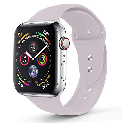 RUOQINI Compatible with Apple Watch Band 40mm,Sport Silicone Soft Replacement Band Compatible for Apple Watch Series 4, S/M Lavender