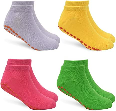 Barefoot Workout Ballet Kids Trampoline Socks Anti-Skid Non Slip Sticky Grips Socks 4 Pairs for Pilates