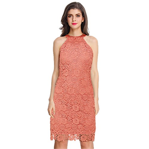 Sue&Joe Women's Sheath Dress Halter Floral Lace Crochet Above Knee Bodycon Dress, Pink, TagsizeM=USsize4-6