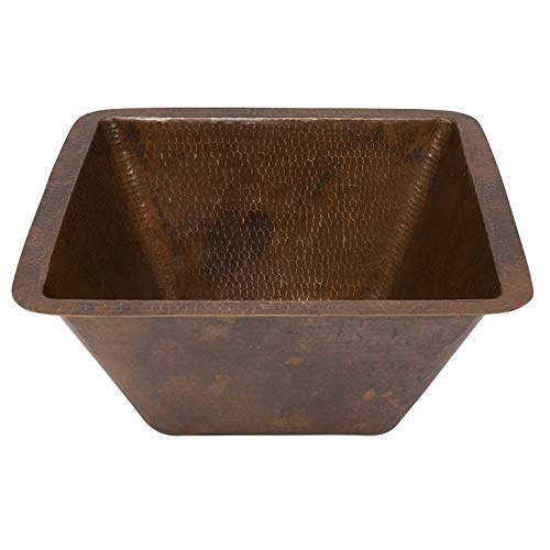 (Premier Copper Products BS15DB2 15-Inch Universal Square Hammered Copper Bar Sink with 2-Inch Drain Size, Oil Rubbed Bronze)