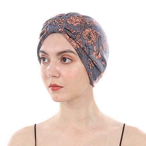 (DuoZan Cotton Turbans Satin Liner Double-Layered Head Wrap Beanie Chemo Cap Sleep Bonnet (Grey))