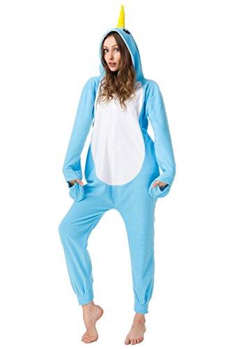 Hot New Adult Unisex Unicorn Narwhal Pajamas Animal Cosplay Costume Onesie Sleepwear (Blue Narwhal Pajamas, (Narwhal Unicorn Costume)