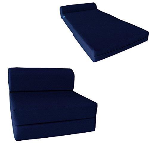 Sleeper Chair Folding Foam Bed - Studio Foam Mattress, Folded Sofa. (6Tx32Wx70L, Navy Blue) (Blue Chair Sleeper)