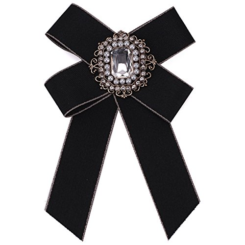 ZOONAI Women Wedding Party Bow Tie Rhinestone Pre Tied Neck Tie Brooch Pin (Black)