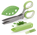 Joyoldelf Gourmet Herb Scissors - Master Culinary Multipurpose Kitchen Scissors 5 Blades Stainless