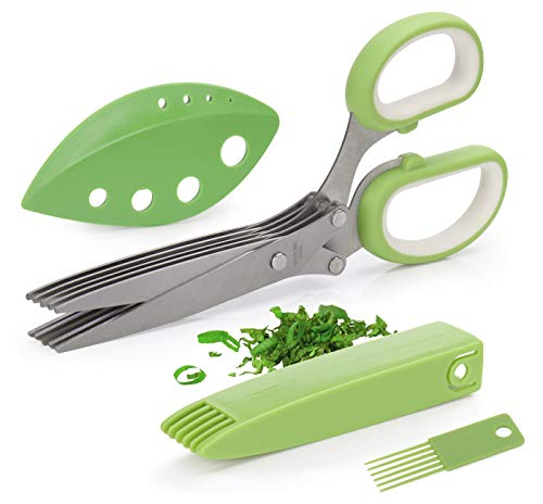 Joyoldelf Gourmet Herb Scissors Set - Master Culinary Multipurpose Cutting Shears with Stainless Steel 5 Blades, Stripping Tool, Safety Cover and Cleaning Comb for Cutting Cilantro Onion Salad