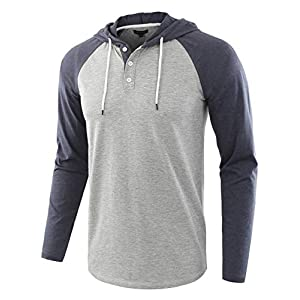 HETHCODE Men's Casual Lightweight Long Sleeve Raglan Henley Jersey Hoodie Shirt