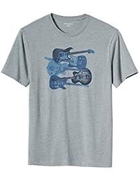 Men's Blue Guitar Cotton Blend Graphic T-Shirt Heather Grey X-Large