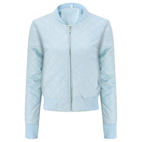 Internet Mujer Chaqueta impermeable de cuero PU Chaqueta de solapa de cuero delgada de moda Abrigo de abrigo de invierno Chaqueta superior de la blusa Azul