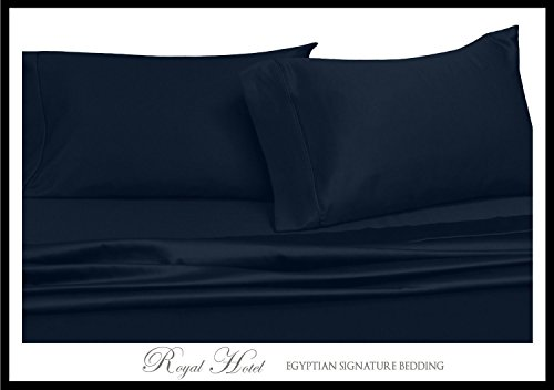 Royal's Solid Navy 300-Thread-Count 3pc Super-Single Size Waterbed-Sheets 100% Cotton, Sateen Solid Sheet Set