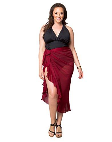 Kiyonna Women's Plus Size Giselle Ruffle Sarong MED Ruby